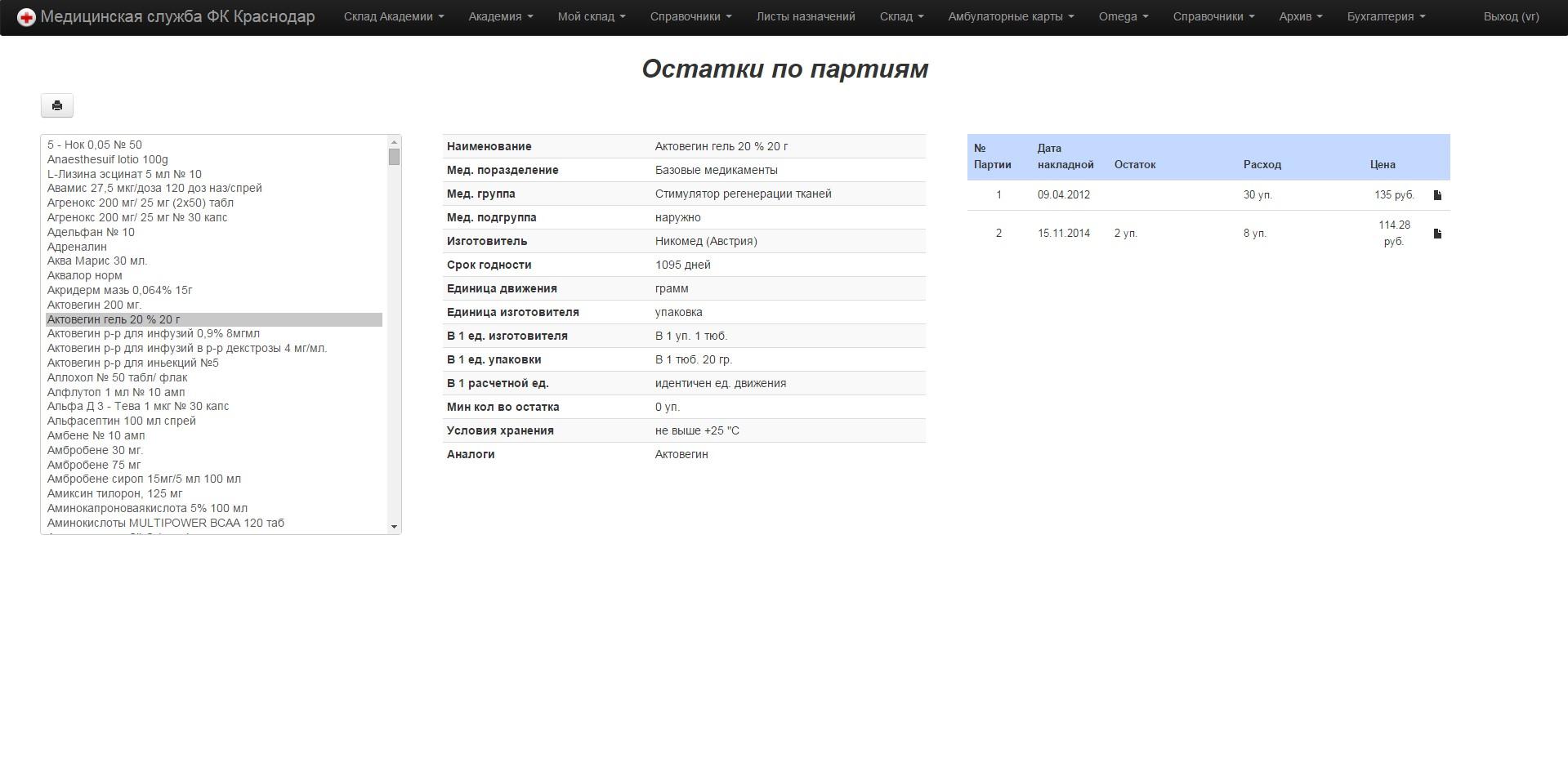 Ryzhak Vladimir - FC Krasnodar medicine application